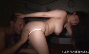 Tempting eastern Karen Saijyou vigorously impales her trimmed snatch on a hard fuck stick